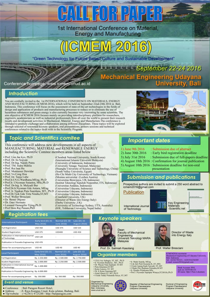 ICMEM (International Conference on Material Energy and Manufacturing) 2016