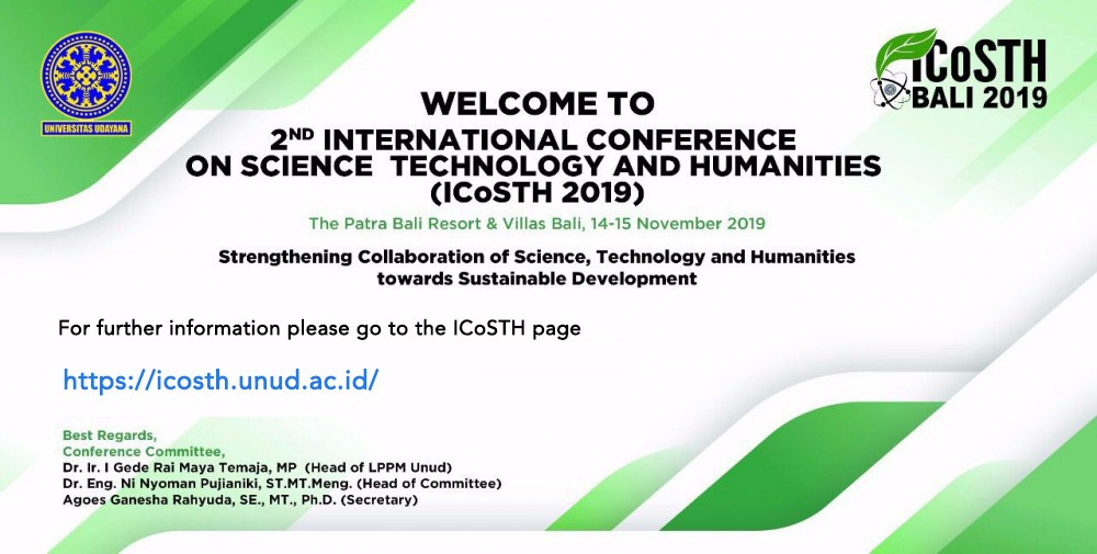 2<sup>nd</sup> International Conference on Science Technology and Humanities (ICOSTH 2019)