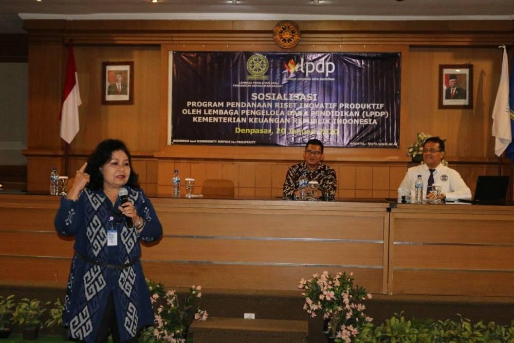 Universitas Udayana dan LPDP Gelar Sosialisasi Program Pendanaan Riset Inovasi Produktif (RISPRO)