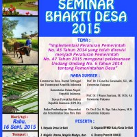 "INVITING ALL HEADS OF BALINESE VILLAGES, LPPM OF UDAYANA UNIVERSITY HELD ""2015 BHAKTI DESA"" SEMINAR"