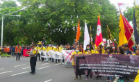 REJECTING THE REVISION OF MD3 LAWS, STUDENTS' EXECUTIVE BOARD ALLIANCE OF BALI HELD A PEACE ACTION
