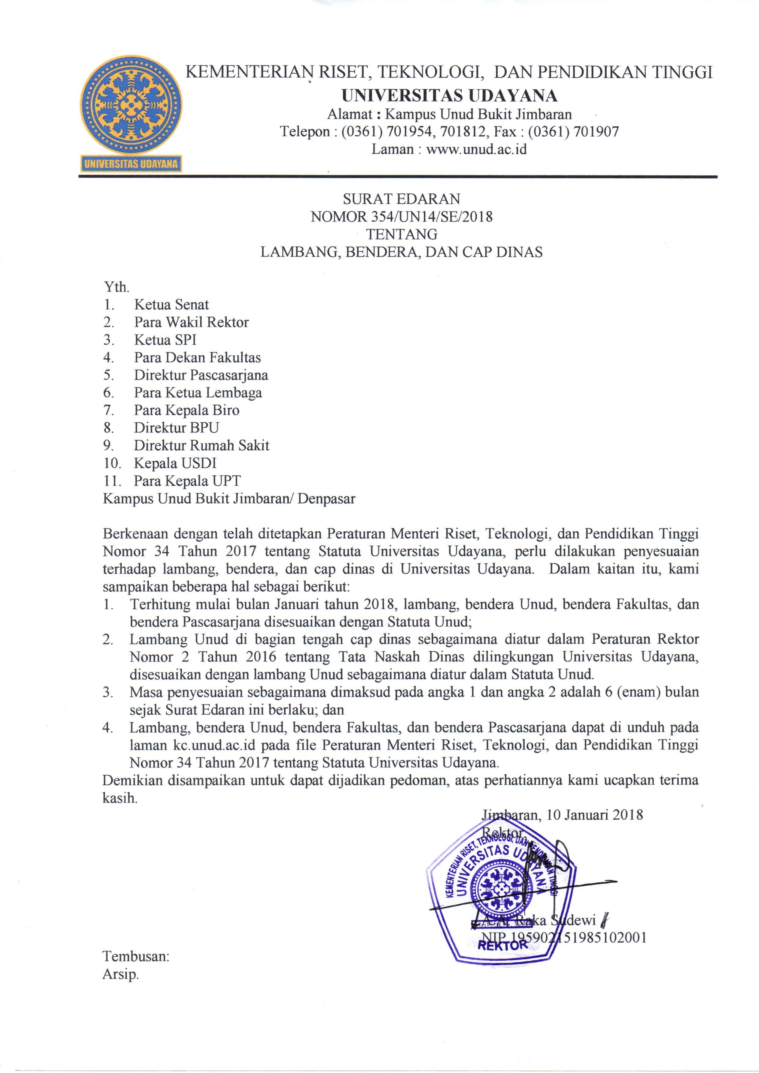 Surat Edaran Rektor Tentang Lambang Bendera Unud